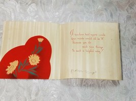 """OLD VINTAGE """"VALENTINE GREETINGS TO TEACHER"""" VALENTINE'S DAY CARD, GOOD COLOR! image 2"""