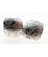 Sterling 925 British Silver Pair Handmade Fern Pattern Earrings Pierced ... - $22.88