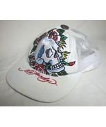 ED HARDY Skull Roses Baseball Cap Trucker Hat Snapback Embroidered White... - $33.65