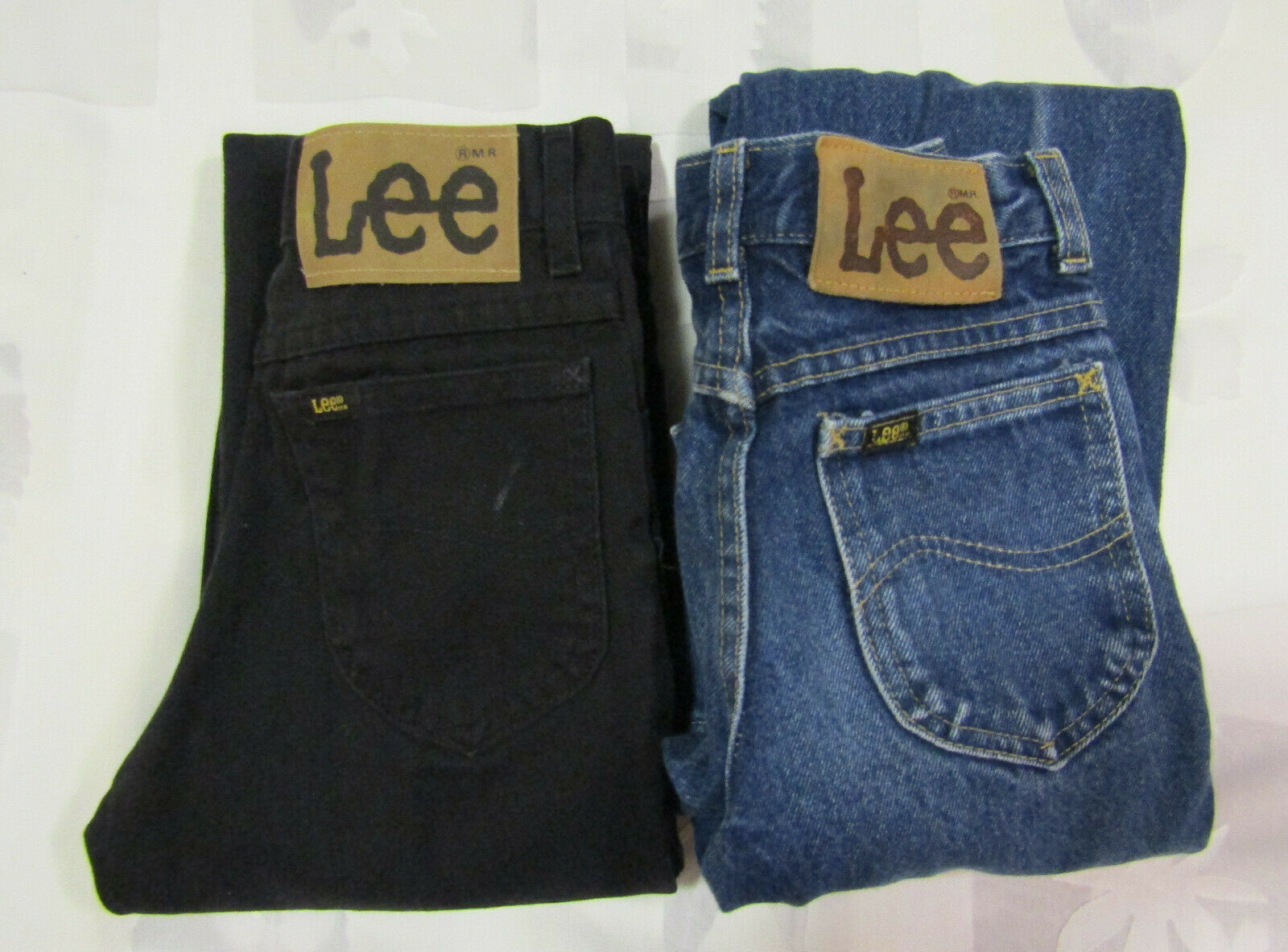 Primary image for Lee Riders Sz 12 Slim 23 X 26 Girls Jeans Vintage Made In USA 2 Pair Blue Black