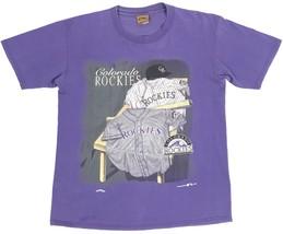 VINTAGE NUTMEG MILLS 1995 Colorado Rockies MLB T Shirt Purple S/S Adult ... - $13.98