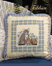 Cross Stitch Buttermilk Tabby Kitten Pillow Butterfly Album Scrapbook Pa... - $6.99