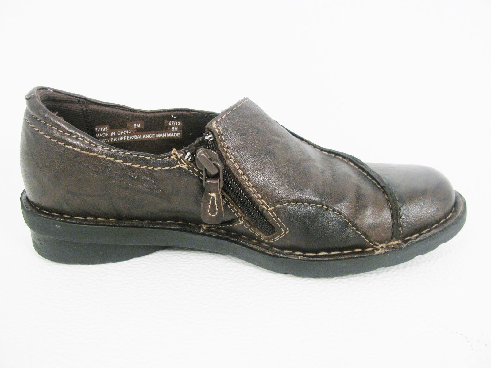 Clarks Women's Bendables Comfort Brown Leather Shoes Flats Slip On Side Zip 5 M
