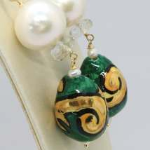 GOLD EARRINGS YELLOW 750 18K PEARLS FW DROP HAND-PAINTED MADE IN ITALY image 3