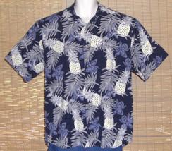 Keeler Bay Hawaiian Shirt Blue White Yellow Pineapples Flowers Leave Siz... - $31.67