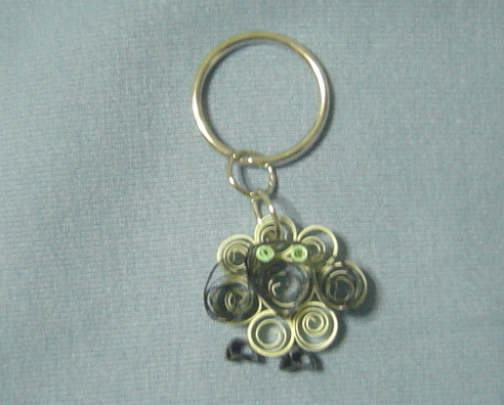 Paper Quill Handcrafted Green Eyed Sheep Keychain