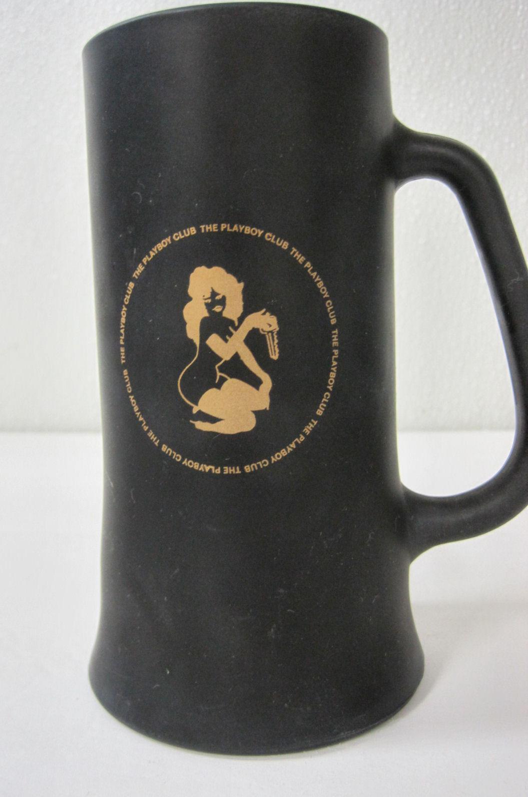Playboy Bunny Club Key Glass Black Gold Beer Cup Mug Tanker 6 Inches Tall