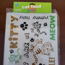"""Cat Food Mat, Litter Box Mat, Pet Mat, Plastic, 20""""x12"""", Meow Kitty image 1"""