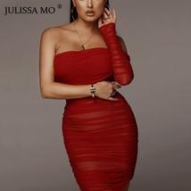 JULISSA MO Ruched Mesh Split Bodycon Dress Women Summer Off Shoulder Long Dress - $40.86
