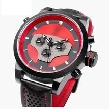 50mm Men's Black Wrist Watch Creative Sport Leather Quartz Date w/ 2 Tim... - $136.12 CAD