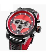 50mm Men's Black Wrist Watch Creative Sport Leather Quartz Date w/ 2 Tim... - €93,00 EUR