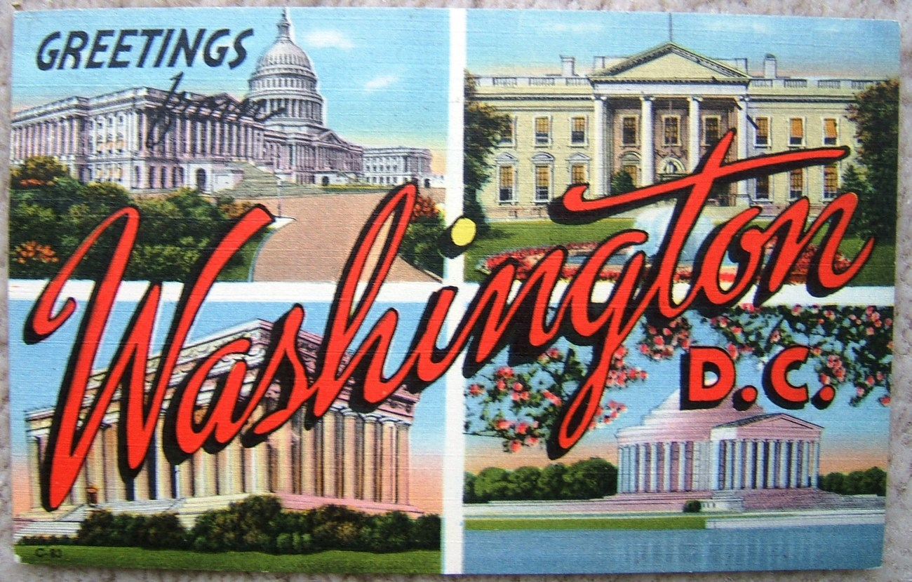 Primary image for Washington DC Souvenir Greetings Used Postcard C83 Stamp Removed 1956 Postmark