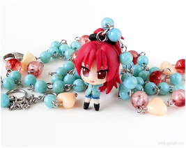 Sakura Kyoko Chibi Figure Necklace, Anime Jewelry, Kawaii, Jfashion, OOAK - $34.00