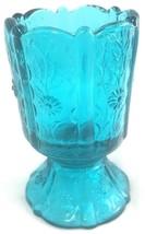 Fenton Blue Floral Flower Art Glass Candle Holder - $16.82