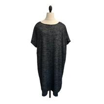 Gap Softspun T-Shirt Dress Sz XL Marled black short sleeve shift cap sleeve - $19.79