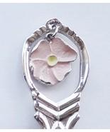 Collector Souvenir Spoon Canada Alberta Jasper Park Pink Wild Rose Charm - $4.99
