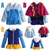 Kid Girl Frozen Elsa Anna Cosplay Snow White Princess Zipper Coat Jacket... - $20.99
