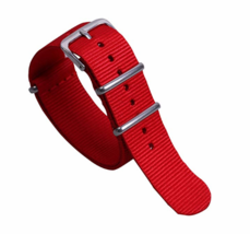22mm X 255mm Nato Canvas Nylon wrist watch Band strap RED - $15.52