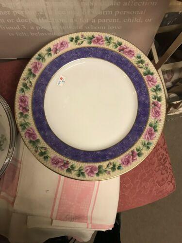 Black Knight Bavaria Dinner Plate Purple Edge Pink Roses image 2