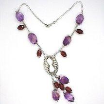 925 Silber Halskette, Fluorit Oval Facettiert Violet, Anhänger Weintrauben image 3