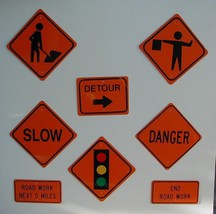 Mini  Construction Traffic Signs ***  8 Signs  Free Shipping - $40.00