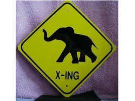 METAL MINI  BABY ELEPHANT  TRAFFIC  SIGNS   MINIATURE - $5.00
