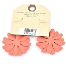 """Crystal Avenue Coral Red Orange Spring Flower 2"""" Drop Dangle Hook Metal Earrings image 2"""