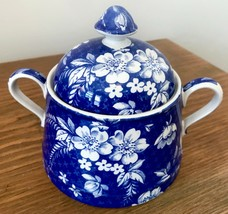 Spode Penny Lane Honeywall Sugar Bowl with Lid Blue White Floral Chintz England - $37.39