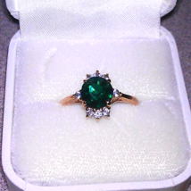 1950's Simulated Emerald & Diamond Cocktail Ring ~ Vintage Costume Jewelry - $24.95