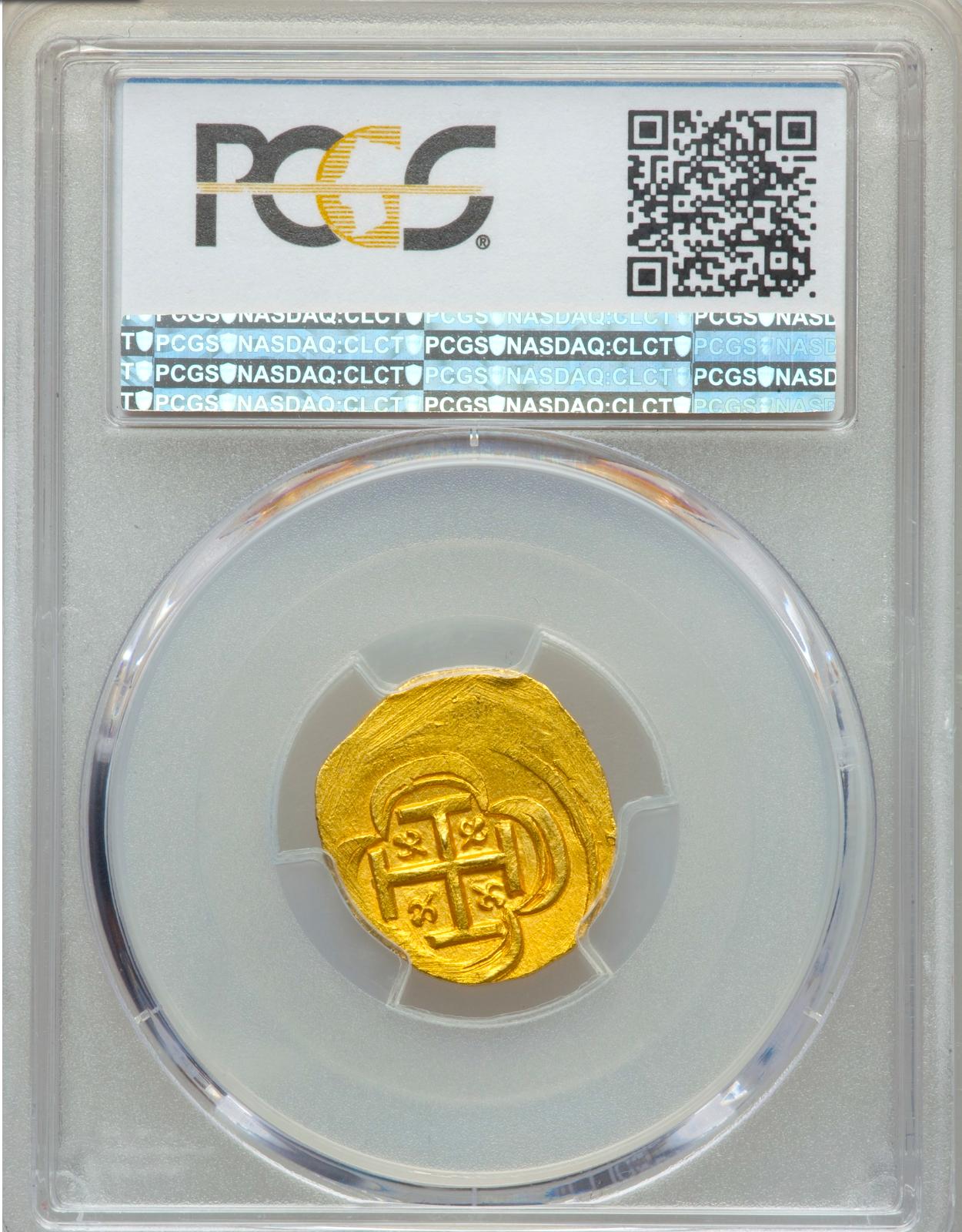 MEXICO 1711-31 2 ESCUDOS PCGS 63 SHIPWRECK DOUBLOON GOLD TREASURE COIN