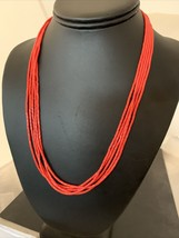 Native American Red Stabilzed Coral Heishi 5S Sterling Silver Necklace 2... - $177.31