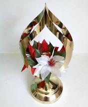 "Brass Candle Holder Cat Eye 13"" Teardrop Vtg Mid Century Christmas Holid... - $39.59"