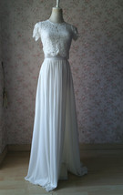 WHITE Split Maxi Skirt High Split White Chiffon Skirt Wedding Chiffon Skirt image 3