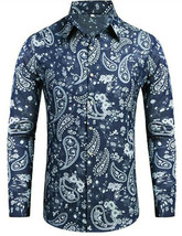 Men's Daupanzees Denim Paisley Cotton Long Sleeve Casual Button Up Dress Shirt