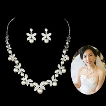Elegant Silver Color Rhinestone Pearl Diamante Bride Necklace and Earrin... - $25.46