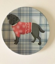 "Black Lab Dog Appetizer Tidbit Christmas Paid Melamine Plates 6"" set of 4 - $24.63"