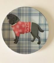 "Black Lab Dog Appetizer Tidbit Christmas Paid Melamine Plates 6"" set of 4 - $476,08 MXN"