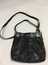 Coach Ashley Solid Black Leather Pleated Convertible Crossbody Bag Purse... - $44.99