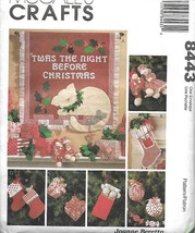 Mc Calls 8443 Twas The Night Before Christmas Ornaments Stocking & More 1996 - $9.89
