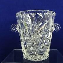"Glass Ice Bucket Star Pattern Curly Handles Distinctive Barware 5.25"" Tall - $25.30"