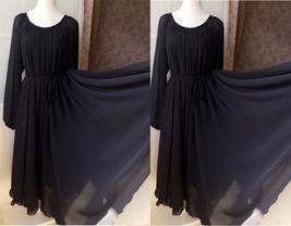 COBALT BLUE Plus Size Long Chiffon dress Gowns Prom Dress Long Sleeve Dresses image 6