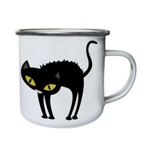 Halloween Artist Cat Retro,Tin, Enamel 10oz Mug q364e - $13.13