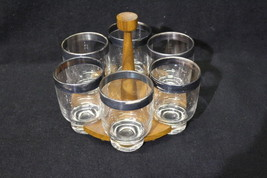 Mid-Century Set of 6 Dorothy Thorpe Glasses with Danish Walnut/Teak Holder - $99.99
