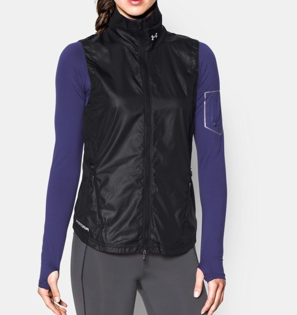 New Womens Under Armour Vest NWT Storm Black M Reflective Run Water Resistant