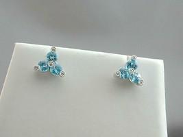STUNNING Carelle 18k White Gold 3 Blue Topaz 4 Diamond Earrings NWOT - $875.00