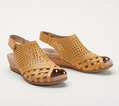Earth Leather Perforated Wedge Sandals- Pisa Galli Amber Yellow 7.5 W - $64.34