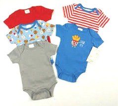Baby Gear 5 Pack Infant Boys Bodysuit Set Grow With Me 2 Sizes 0-3M and ... - $10.08