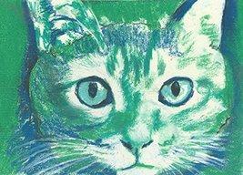 Cute Green White Cat Painting Wall Art Print, Cat Art Decor, Cat Owner G... - $18.22