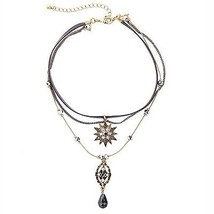 Fashionever Vintage Women Star Choker With Teardrop Multilayer Hademade Chain - $34.53