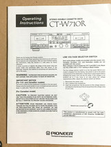 Pioneer CT-W710R Cassette  Owners Manual *Original* - $14.87
